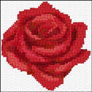 Free Cross Stitch Pattern - Red Rose