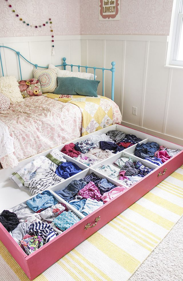 Roll-Away Dresser in small bedroom for extra storage in a small space