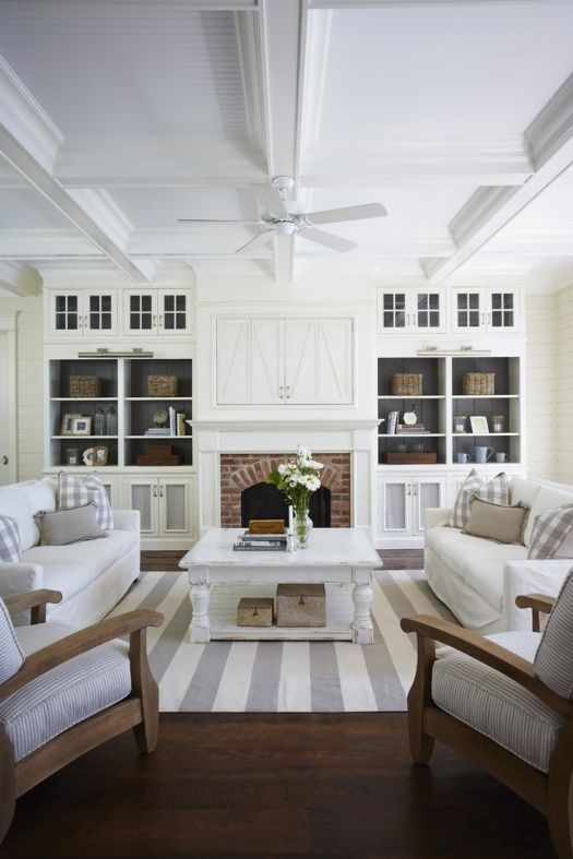 White living room ideas - Love and Marriage {Love the fireplace with space for flat screen above, built ins around, furniture set up.}