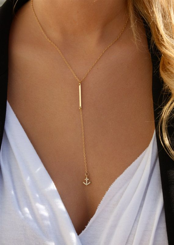 Bar Drop Anchor Necklace / Simple Bar Lariat by ShopErinMichele