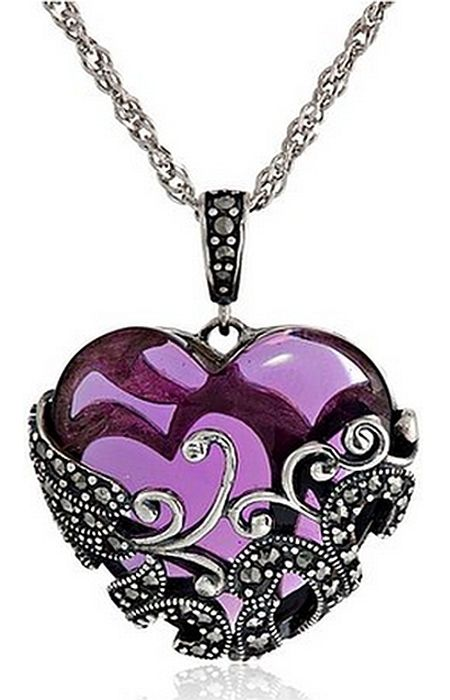 PURPLE & VINTAGE❤ Amazon Collection Sterling Silver Gemstone Heart Pendant Necklace features a heart-shaped glass stone incased in marcasite-accented filigree, with a marcasite-accented bail suspended by rope chain.There are more than 30 small marcasite gemstones!