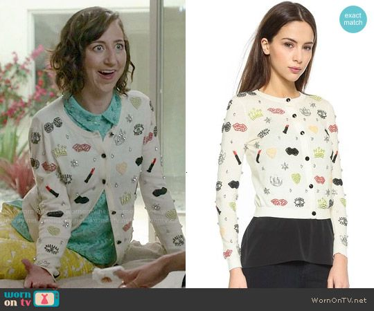 Carol's embellished cardigan on Last Man on Earth.  Outfit Details: http://wornontv.net/53272/ #LastManOnEarth