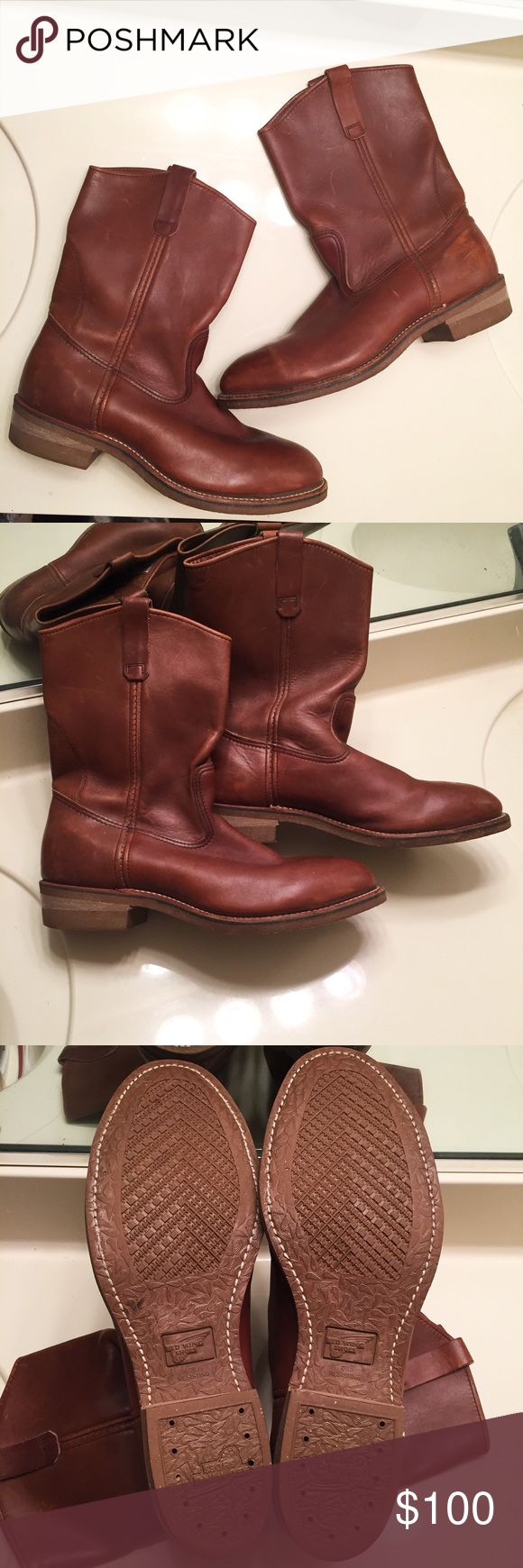 Men's Red Wing genuine leather cowboy boots Genuine leather brown cowboy boots for men size 12. Have been worn a few times, with a few minor scuffs as shown in the pictures but still in excellent condition. Red Wing Shoes Shoes Cowboy & Western Boots