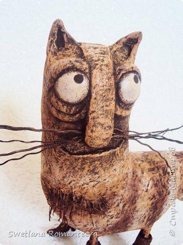 Игрушка Папье-маше Кот в сапогах  Сюрприз и его жена Бумага Клей Краска фото 11