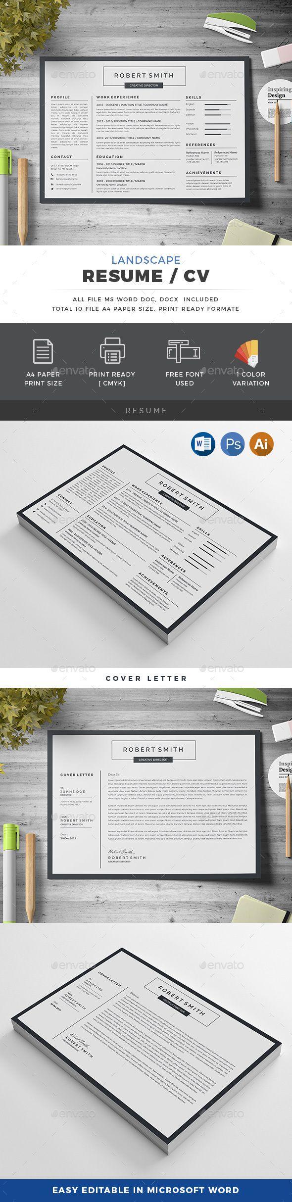 printable resume format%0A  modern  clean  simple  professional  minimalist  Landscape  resume   template