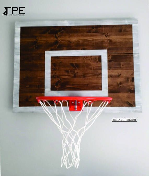 Wood Basketball Hoop Backboard Farmhouse Style Rim Wall Decor