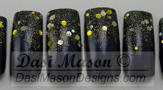 All That Glitters Instant Acrylic Nail Set by dasimason on Etsy, $8.00