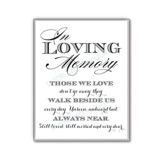 In loving memory wedding sign memorial table frame 8x10 printable pdf instant download in for In loving memory templates free