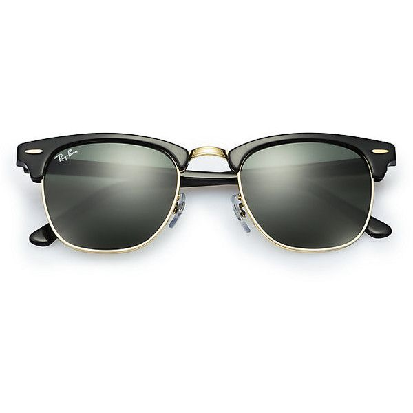 Ray-Ban Men's Clubmaster Classic Black Sunglasses, Green Lenses -... ($150) ❤ liked on Polyvore featuring men's fashion, men's accessories, men's eyewear, men's sunglasses, sunglasses, accessories, glasses, ray-ban, eyewear and mens retro sunglasses