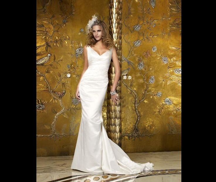 One Fine Day  Create an elegant silhouette with this soft silk duchess satin draped gown featuring a fishtail skirt.