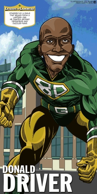Donald Driver (my favorite) in The League of Lambeau by Green Bay Press-Gazette Media editorial cartoonist Joe Heller. The 2013 iconic Green Bay Packers caricatures look back at the storied history of the NFL's oldest franchise. See them all at www.packersnews.com