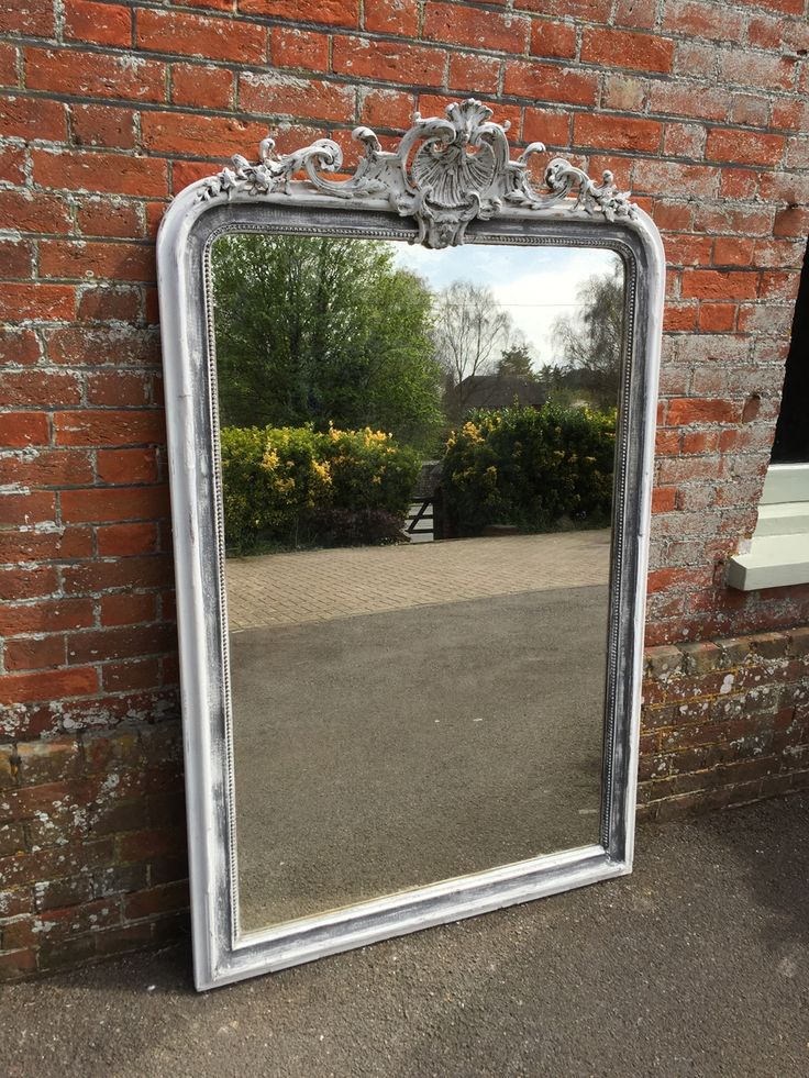 Antique Overmantle Mirrors - A Superb large Antique 19th Century French carved wood & gesso arched top painted Mirror, with ornate crest above and original mercury mirror and backboards. Can be used for hanging or equally as a floor standing mirror.  Measurements:  1 metre 76 cm high  1 metre 12 cm wide   5 cm deep
