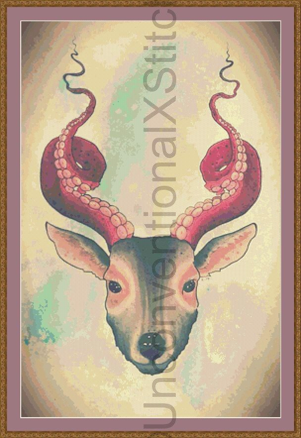 Deer Octopus cross stitch pattern - Strange Dear Large Edition modern counted cross stitch pattern by UnconventionalX on Etsy