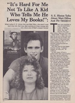 S.E. Hinton & Matt Dillon--Use as non-fiction to accompany The Outsiders unit