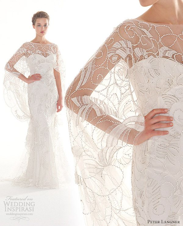 peter langner couture wedding dresses 2013 magic moment cape gown