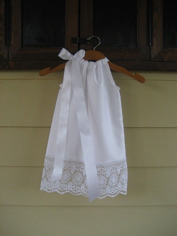 LAST ONE White Pillowcase Dress with Scallop by theuptownbaby