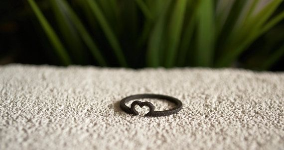 Matte Black Heart Ring. 3D printed matte black by MBDdesign