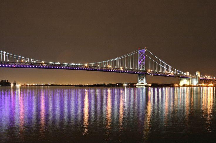 Benjamin Franklin Bridge lit up Purple for Epilepsy
