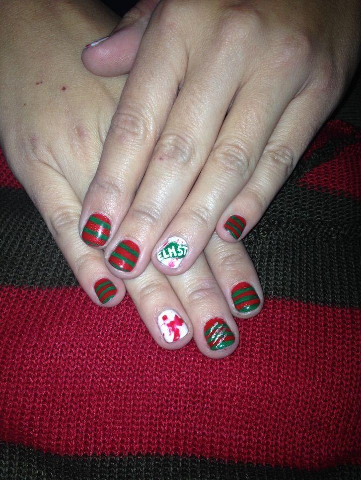 Freddy Krueger Nail Art Halloween Nail Ideas Horror