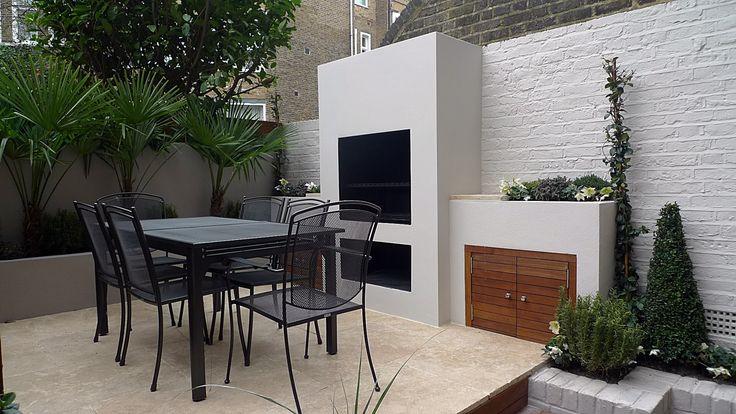 Modern garden designer cream tile paving farrow and ball paints BBQ built in fireplace topiary Chelsea Fulham Mayfair London 2016