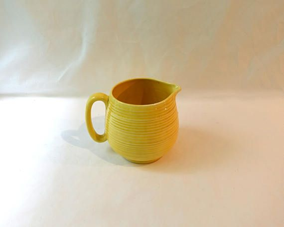 Vintage art deco yellow ribbed pottery milk jug yellow Crown