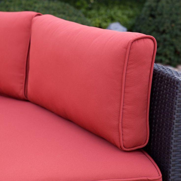 Belham Living Meridian Round Outdoor Wicker Patio Furniture Set with Sunbrella Cushions Sunbrella Henna - TTLC315-2