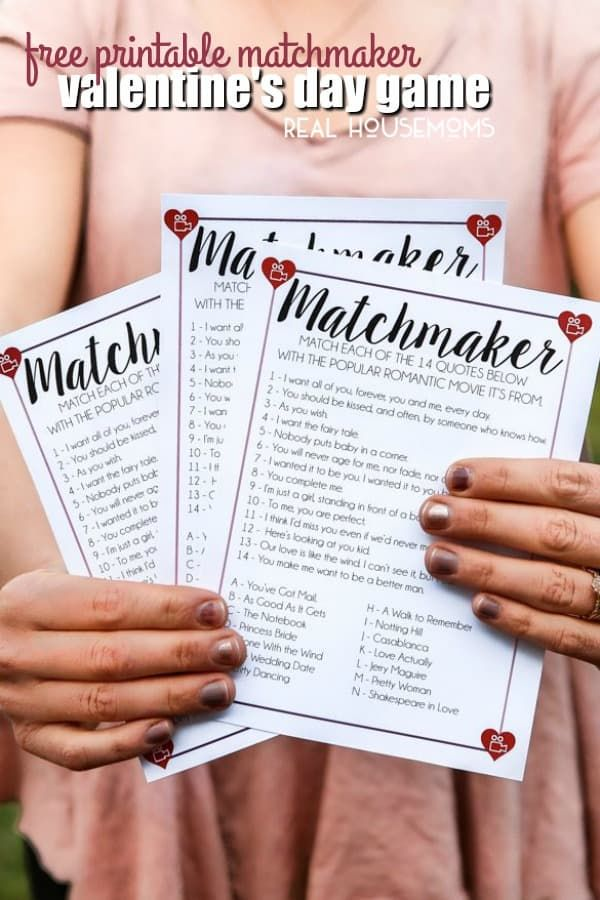 This Free Printable Matchmaker Valentine\u0027s Day Game is a fun way to