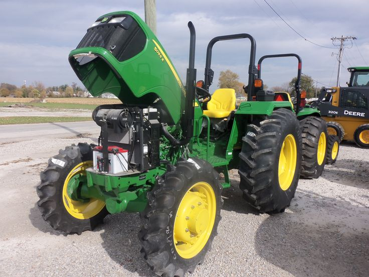 John Deere 5055E with its hood up