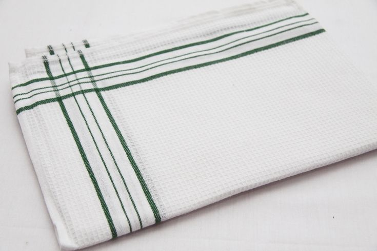 Kuchenna ścierka bawełniana biała z zielonym motywem