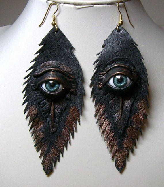 Evil eye black antiqued leather earrings.  Feather earrings. Halloween earrings. Horror earrings. Devil eyes.