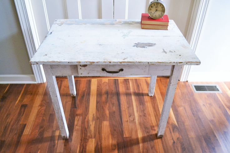 Primitive White Farmhouse Table | Vintage Rustic Kitchen Table | Library Desk/Table with Drawer | Chippy Paint Table | Wood Kitchen Island by ChalksOLot on Etsy