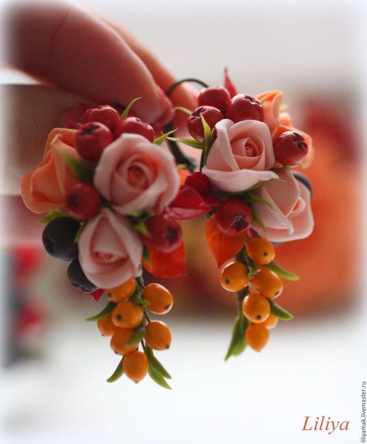 """Купить """"Краски осени""""- серьги - красная рябина, серьги с ягодами, ягодные серьги, ягоды и цветы"""