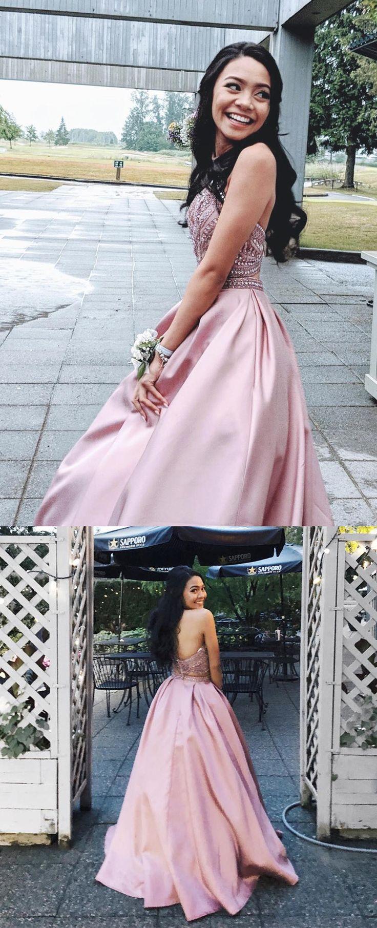 Zweiteilige rosa lange Ballkleider mit Perlen oben, 2019 Abendkleid, Satin Abendkleid Graduation Dress Ballkleid