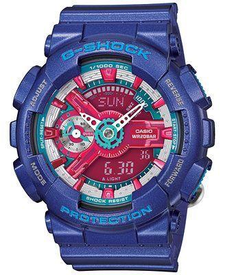 G-Shock Women's Analog-Digital Blue Resin Strap Watch 49x46mm GMAS110HC-2A