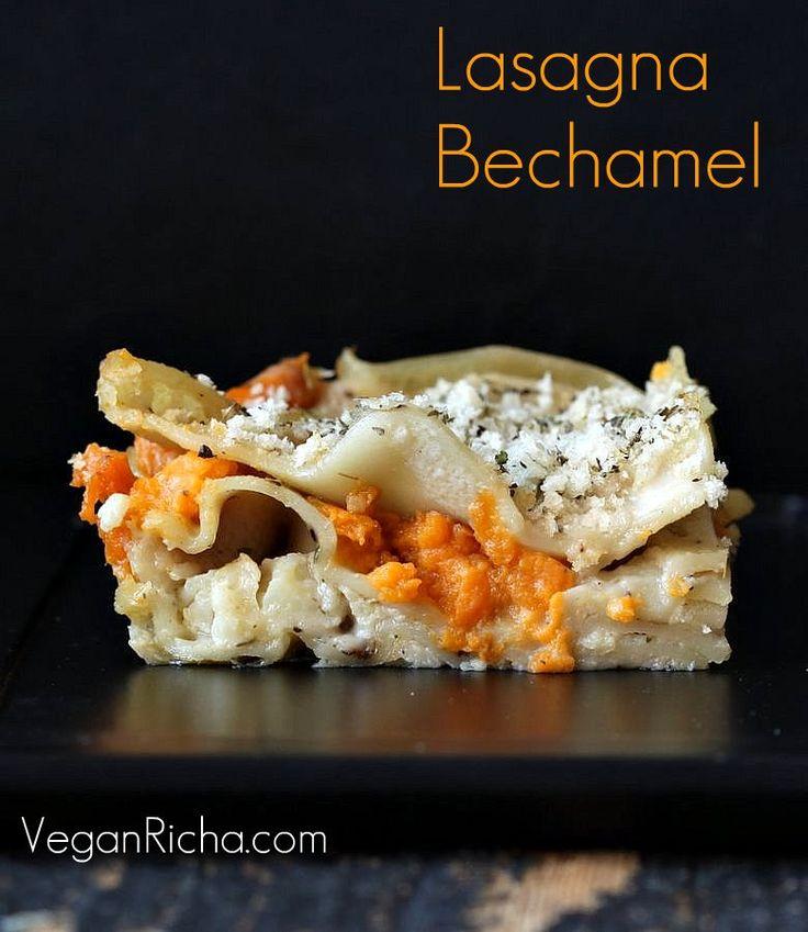 Lasagna Bechamel with Sweet Potato and Cauliflower. Vegan Recipe | Vegan Richa