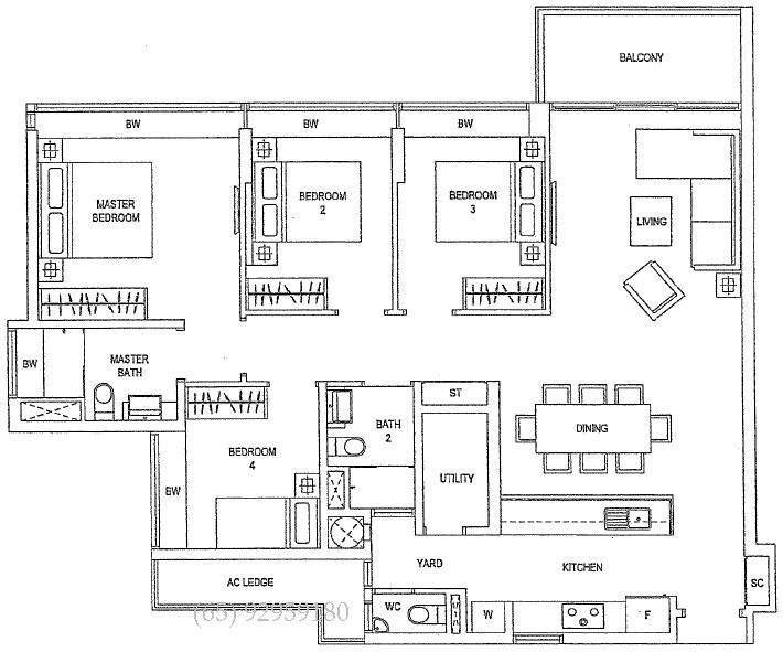 4 bedroom condo floor plans waterfront gold singapore for Condominium floor plan
