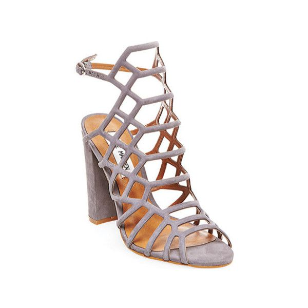 Women's Steve Madden Skales Caged Sandal ($80) ❤ liked on Polyvore featuring shoes, sandals, cage shoes, casual, grey, evening sandals, cage sandals, steve madden sandals, high heeled footwear and grey sandals