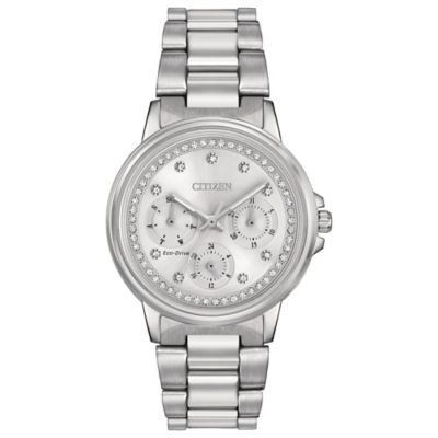 Citizen Eco-Drive Ladies' 37Mmmm Silhouette Crystal Accented Dial Watch In Stainless Steel Silver