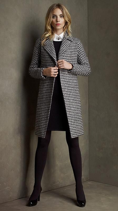 Wool Houndstooth Belted Coat by Brooks Brothers