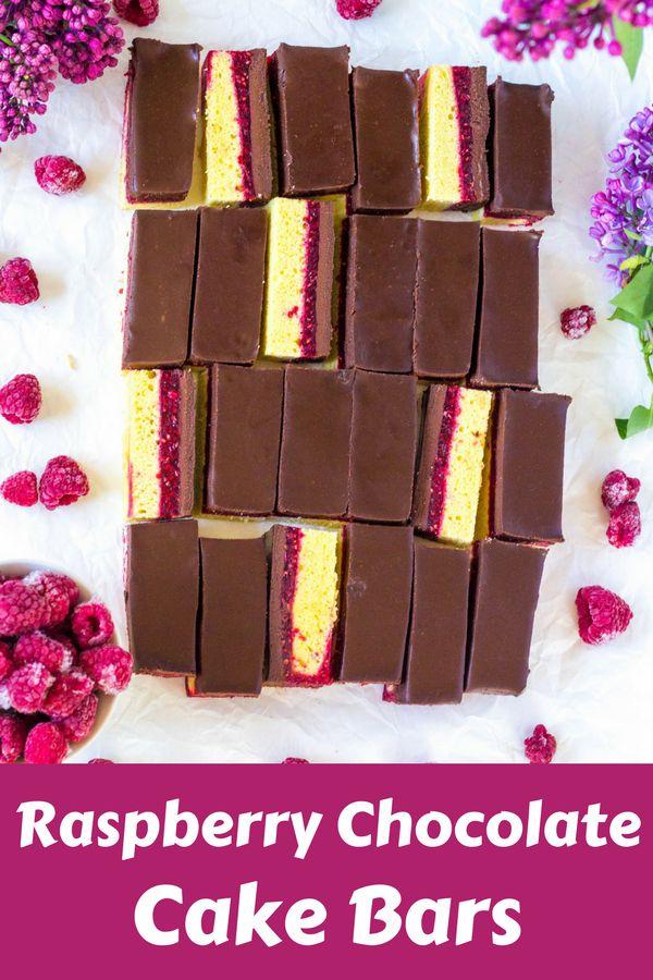 Raspberry Chocolate Cake Bars Bars made from sponge cake, raspberries with gelatin and chocolate ganache, they are similar to Pim´s sweets  #raspberrybars #chocolatebars #raspberrychocolatecakebars #frozenraspberriesrecipe #raspberrychocolate