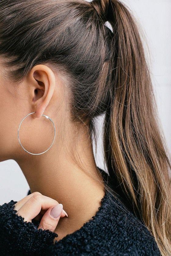 e8a9cc3983432 Lulus | Simply Stylish Silver Hoop Earrings in 2019 | Wish List ...