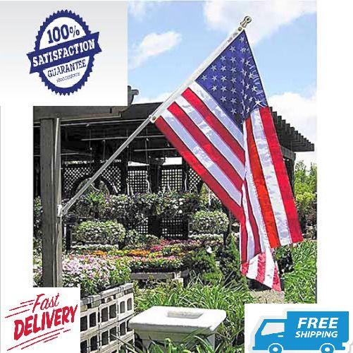 Flag Pole Kit House Porch American Bracket Holder Set Heavy Duty Residential #AnninCo