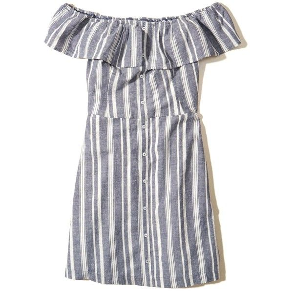 Hollister Ruffle Off-The-Shoulder Woven Dress (£23) ❤ liked on Polyvore featuring dresses, hollister, blue stripe, blue off shoulder dress, off-the-shoulder ruffle dresses, striped off the shoulder dress, blue striped dress and flutter-sleeve dresses
