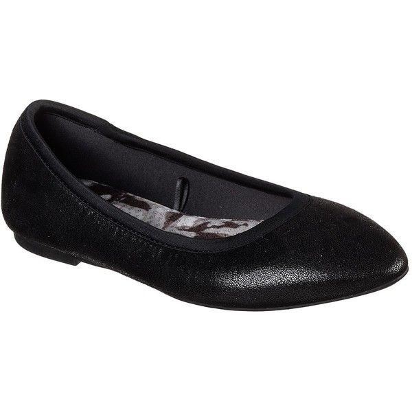 Skechers Women's Cleo - Dazzles Black - Skechers ($55) ❤ liked on Polyvore featuring shoes, flats, black, black skimmer, leather ballet flats, ballet flat shoes, dressy flat shoes and dressy black flats