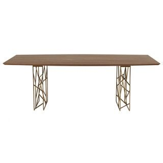 Cipriano Dark Walnut Boat Shaped Dining Table   Free Shipping Today    Overstock.com