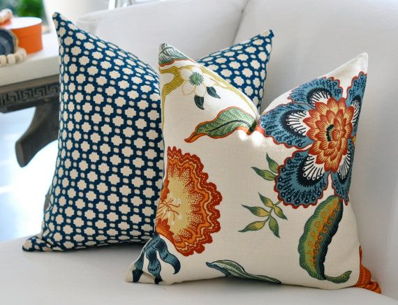 18x18 Hot House Flowers pillow cover in Spark by woodyliana - similar to sarah richardsons farmhouse bedroom fabric?