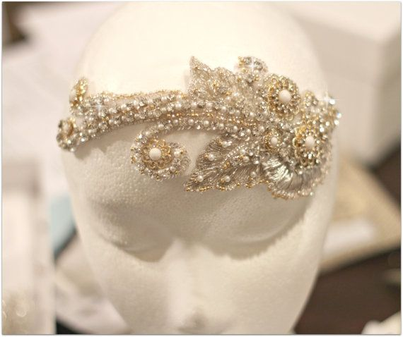 Swarovski Crystal Gold Beaded Bridal Headpiece, Gold and Silver Bridal Headpiece, Bridal Fascinator, Couture Wedding Hair Accessory on Etsy, $195.00