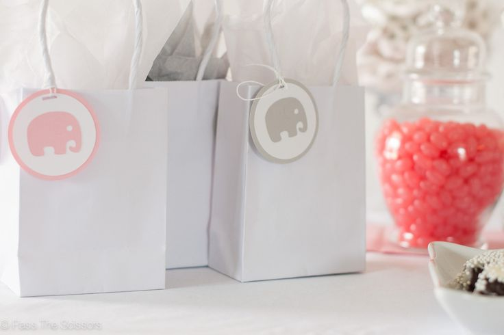 Light Pink & Gray Elephant Baby Shower Tags