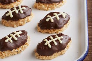 Rice Crispy Football Treats - so easy,  the kids can get in on the fun!
