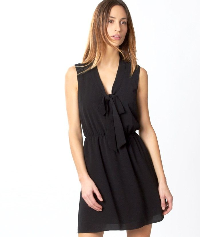 robes de mode robe fluide noire etam. Black Bedroom Furniture Sets. Home Design Ideas